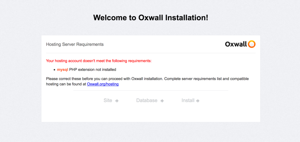 Erreur mysql lors de l'installation du CMS OXWALL