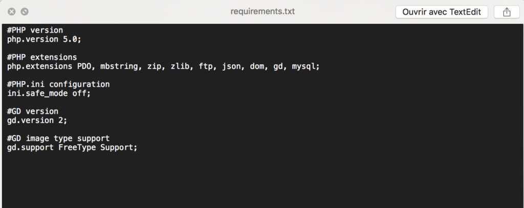 Fichier requirements.txt de Oxwall