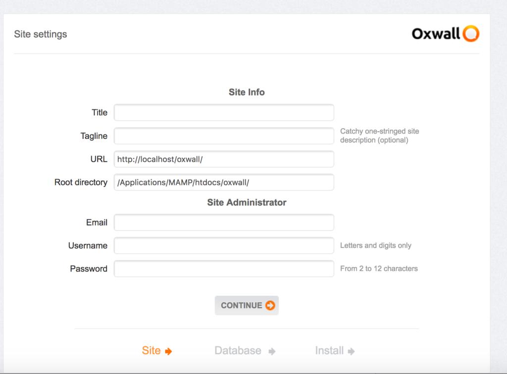 Fenêtre d'installation du CMS OXWALL