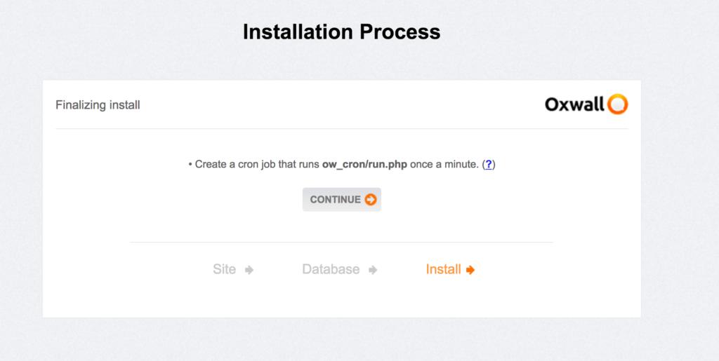 Fin d'installation du processus de OXWALL le CMS open Source en PHP